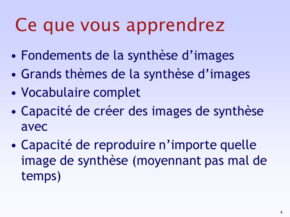 Ce que vous apprendrez Fondements de la synthèse d'images
