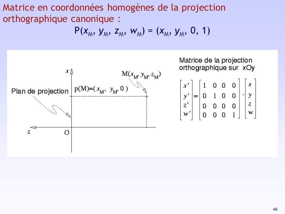 Matrice en coordonnées homogènes de la projection orthographique canonique :