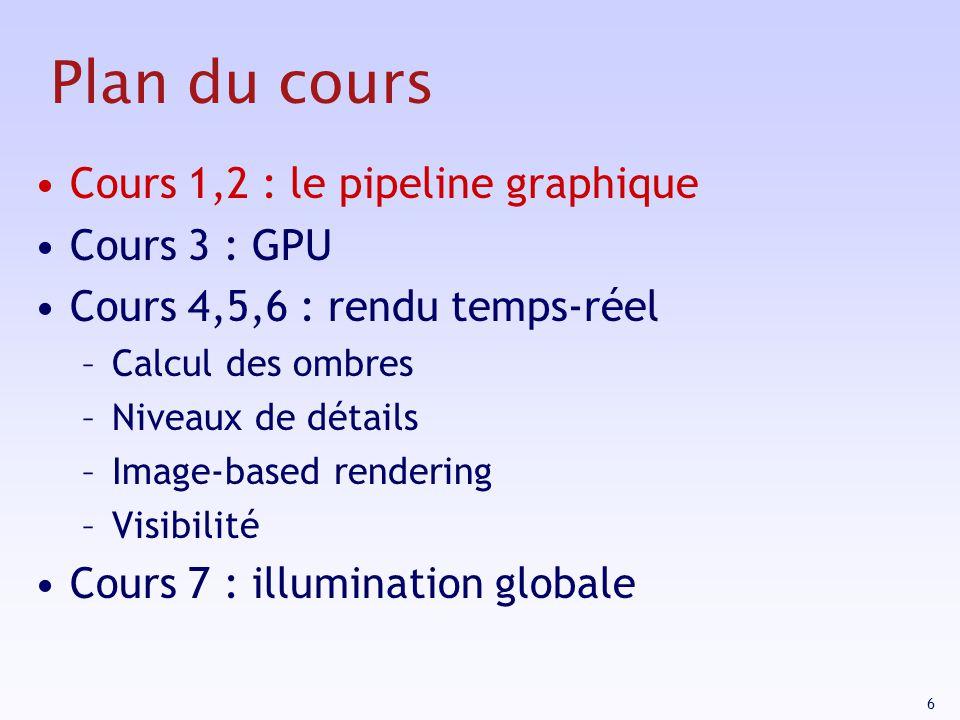 Plan du cours Cours 1,2 : le pipeline graphique Cours 3 : GPU