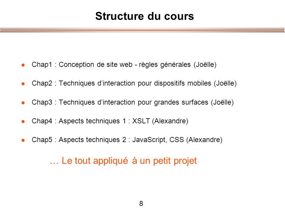 Structure du cours Chap1 : Conception de site web - règles générales (Joëlle) Chap2 : Techniques d'interaction pour dispositifs mobiles (Joëlle)