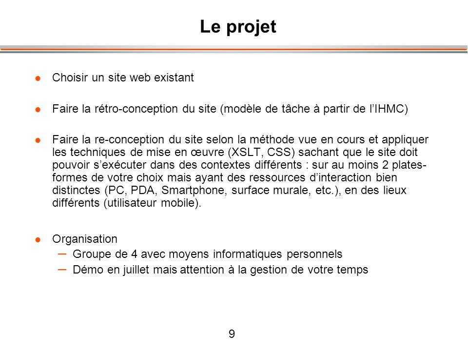 Le projet Choisir un site web existant