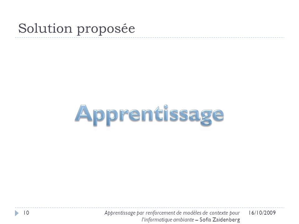 Apprentissage Solution proposée
