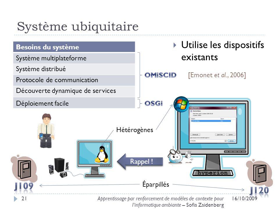 Système ubiquitaire Utilise les dispositifs existants J109 J120