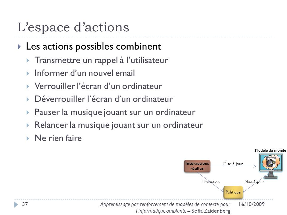 L'espace d'actions Les actions possibles combinent