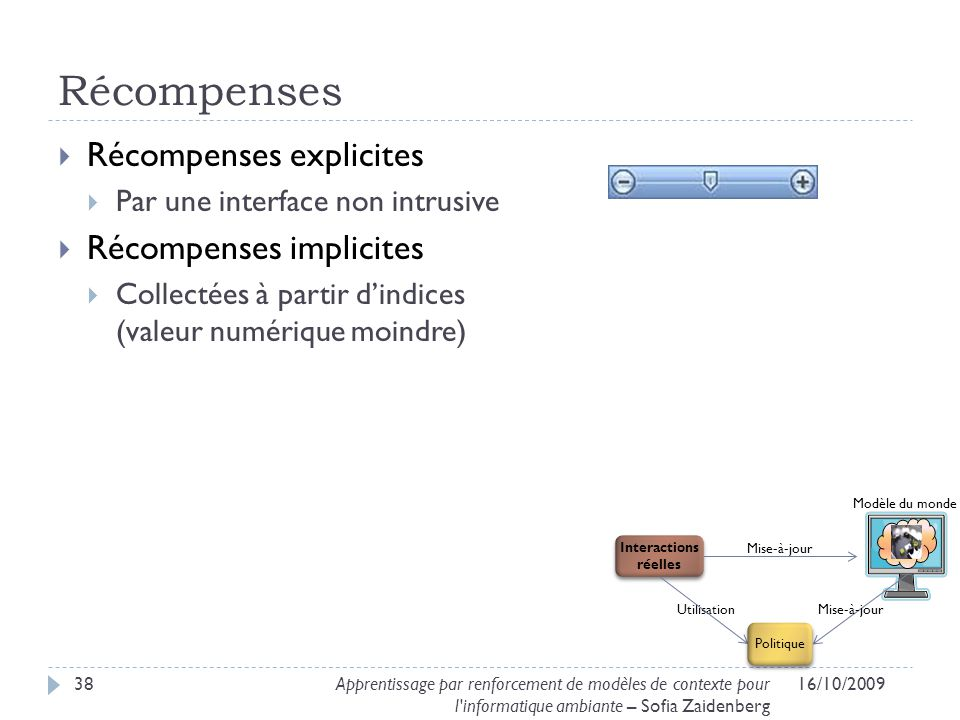 Récompenses Récompenses explicites Récompenses implicites