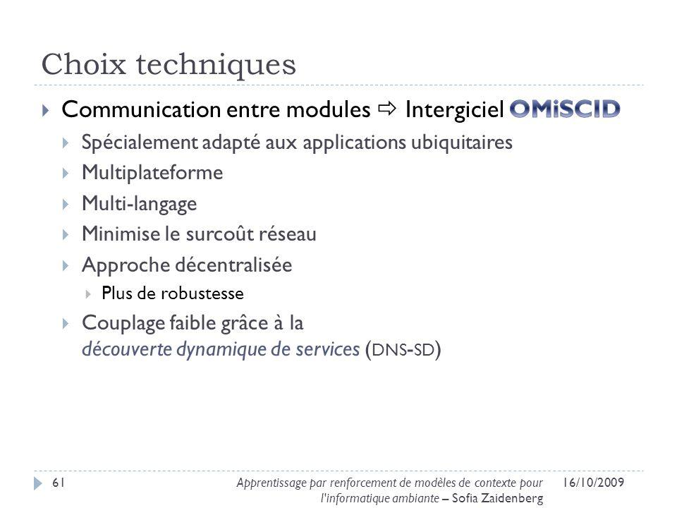Choix techniques Communication entre modules  Intergiciel OMiSCID