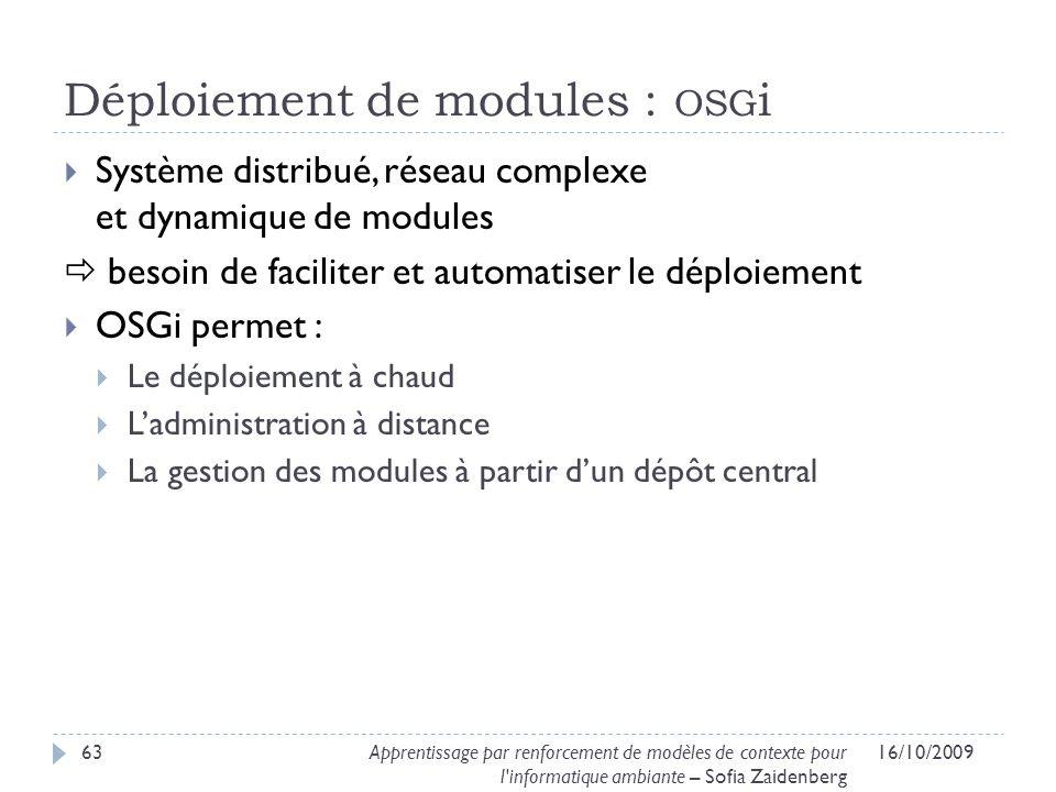 Déploiement de modules : osgi