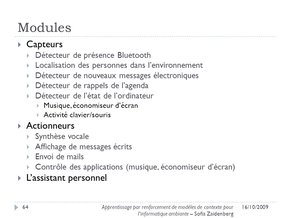Modules Capteurs Actionneurs L'assistant personnel