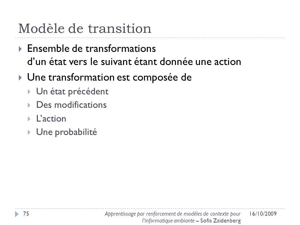 Modèle de transition Ensemble de transformations d'un état vers le suivant étant donnée une action.