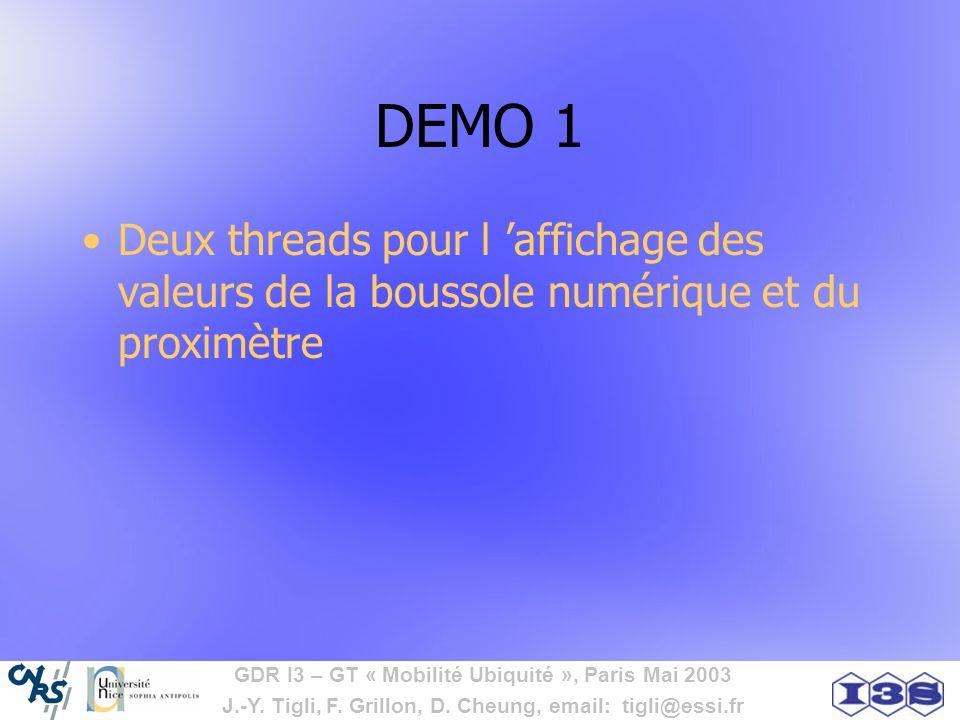 DEMO 1 Deux threads pour l 'affichage des valeurs de la boussole numérique et du proximètre