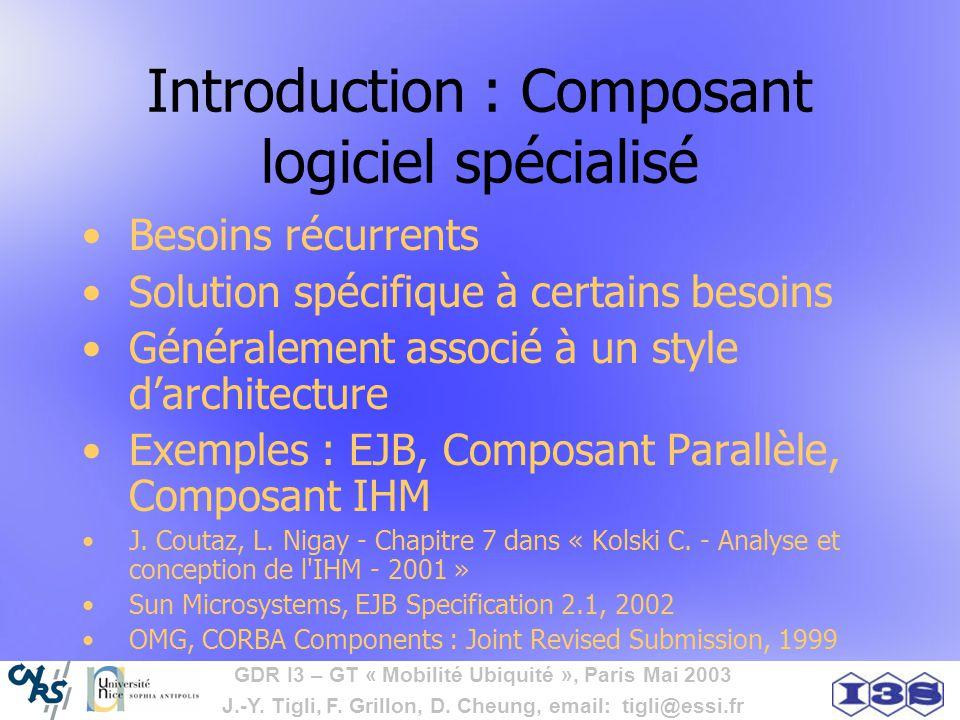 Introduction : Composant logiciel spécialisé