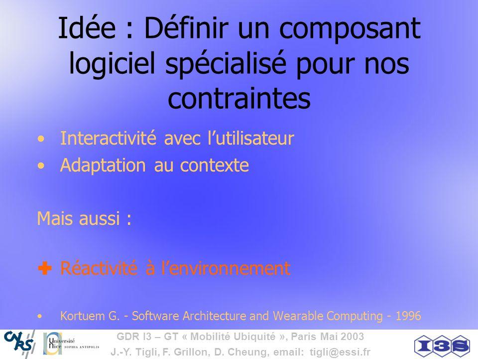 Idée : Définir un composant logiciel spécialisé pour nos contraintes