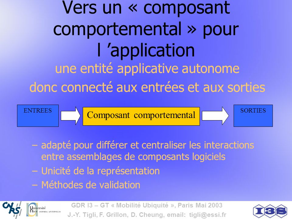 Vers un « composant comportemental » pour l 'application