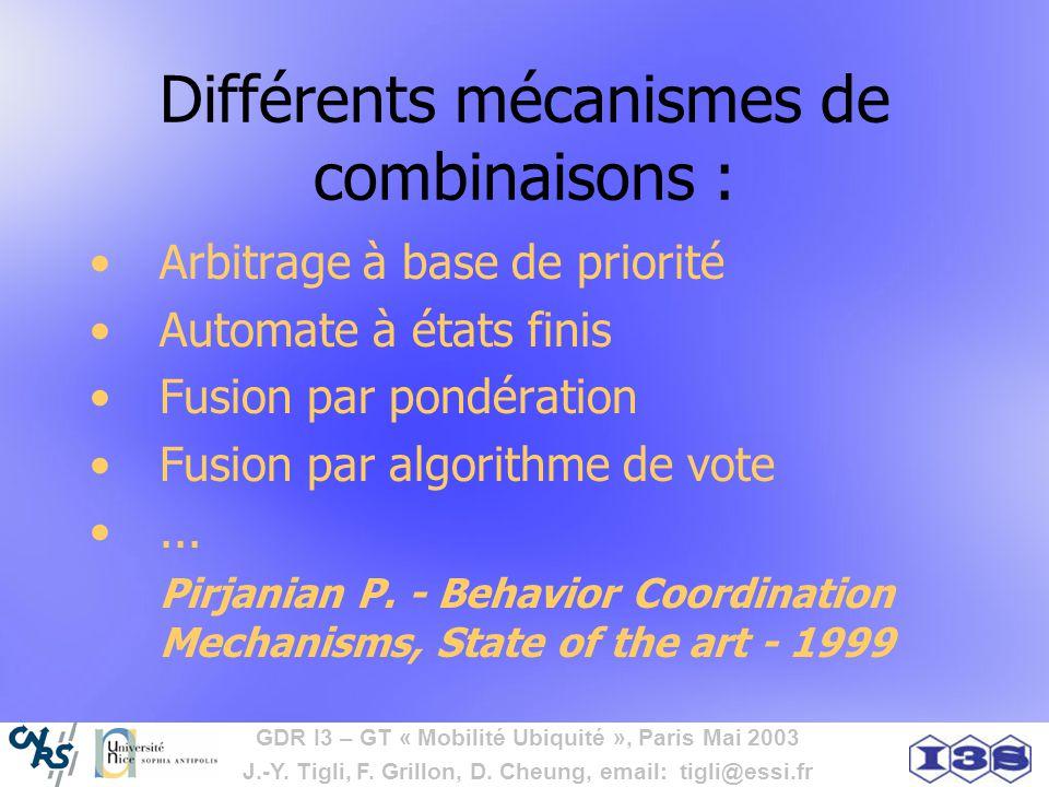 Différents mécanismes de combinaisons :