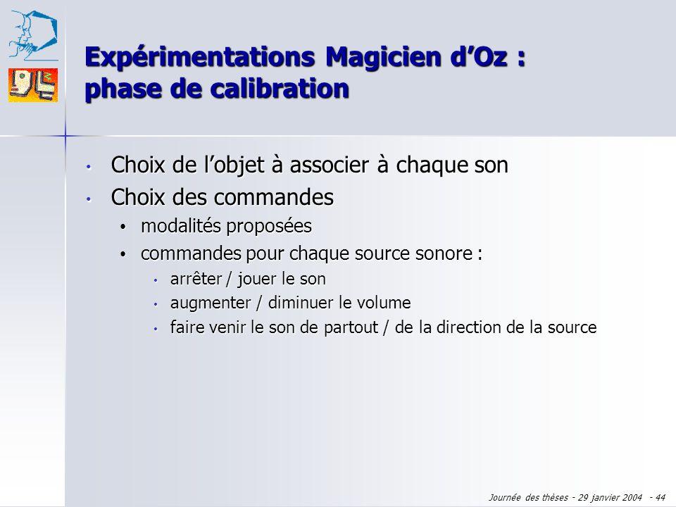 Expérimentations Magicien d'Oz : phase de calibration