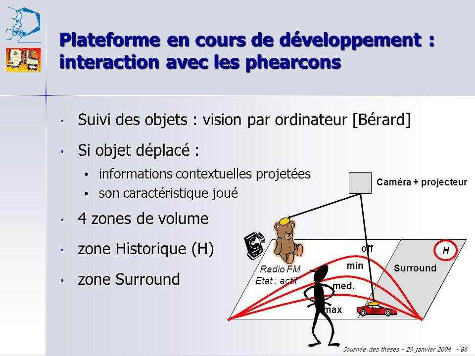 Plateforme en cours de développement : interaction avec les phearcons