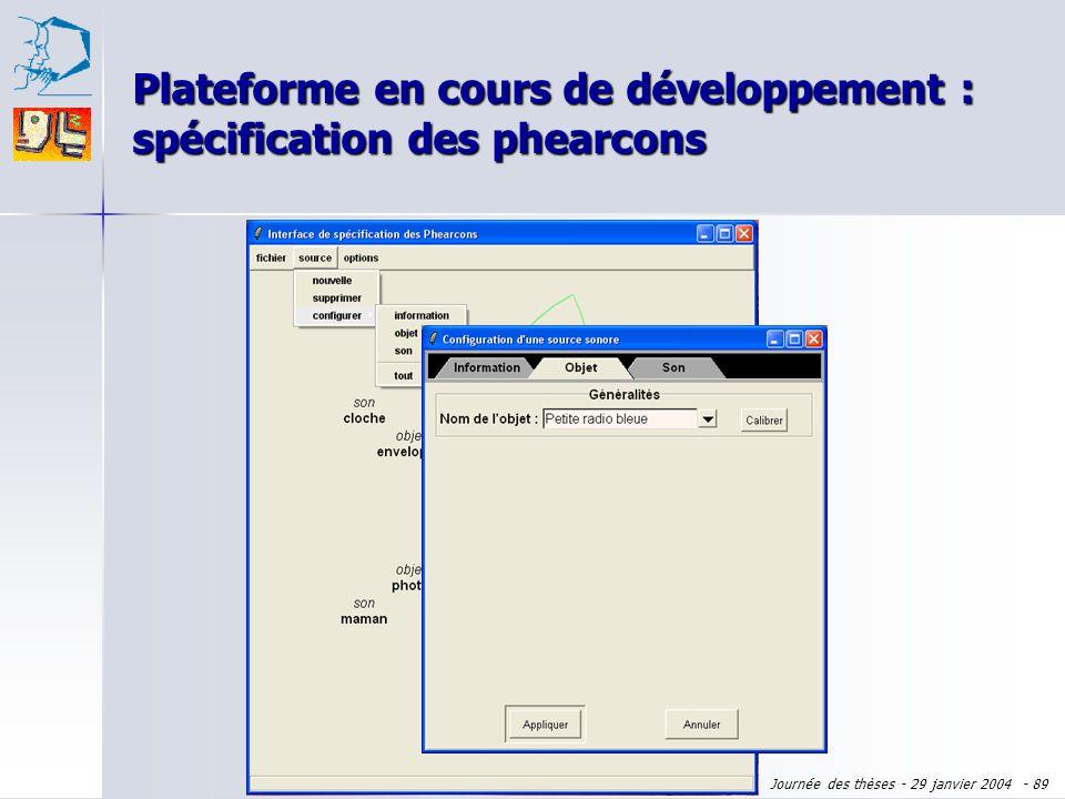 Plateforme en cours de développement : spécification des phearcons