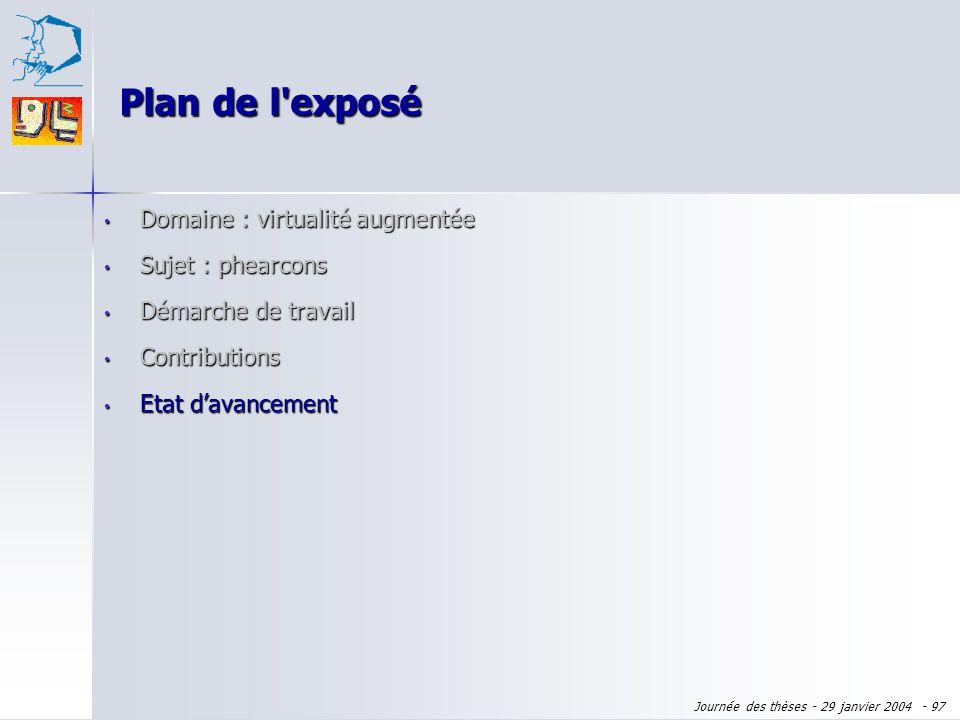 Plan de l exposé Domaine : virtualité augmentée Sujet : phearcons