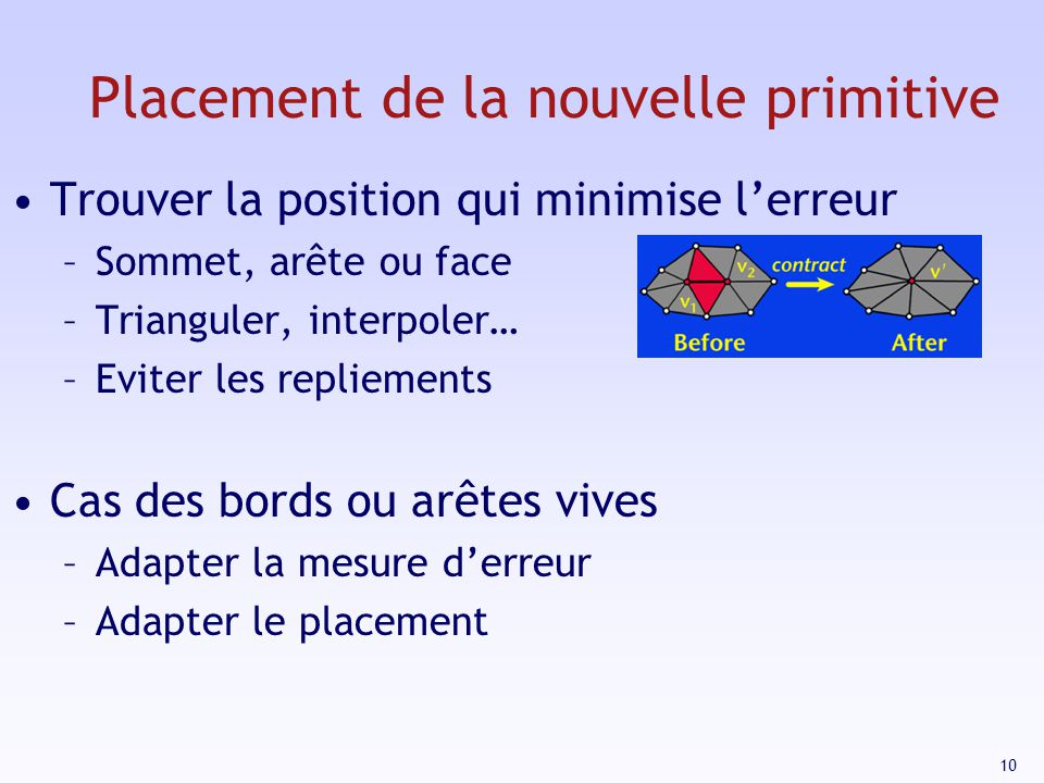 Placement de la nouvelle primitive