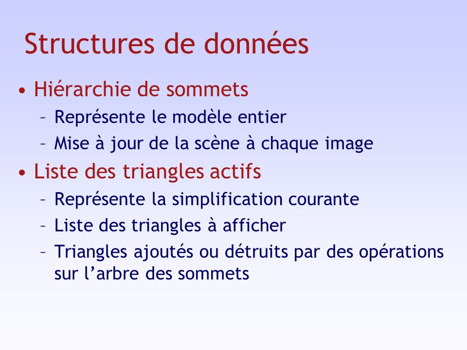 Structures de données Hiérarchie de sommets Liste des triangles actifs