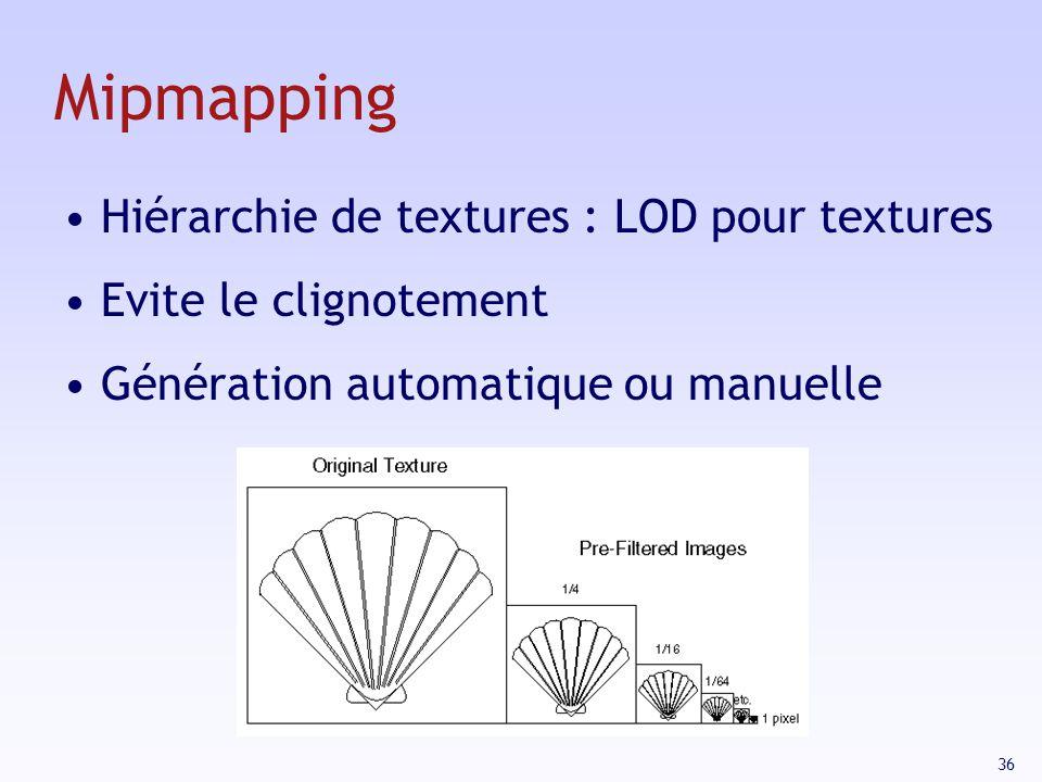 Mipmapping Hiérarchie de textures : LOD pour textures