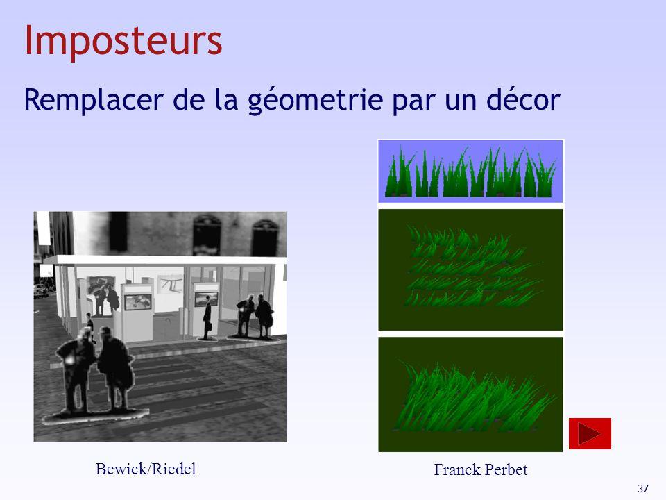 Imposteurs Remplacer de la géometrie par un décor Bewick/Riedel