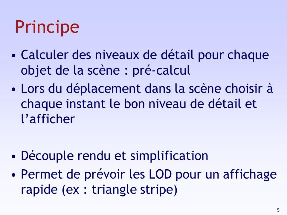 Principe Calculer des niveaux de détail pour chaque objet de la scène : pré-calcul.