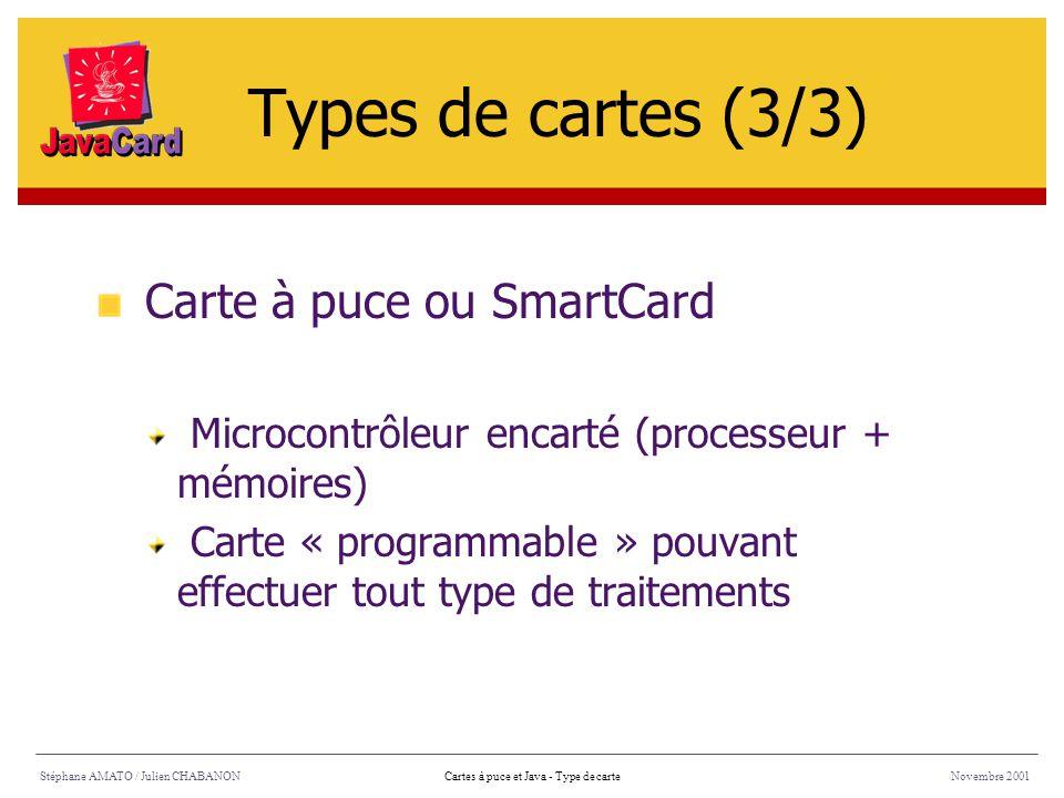 Types de cartes (3/3) Carte à puce ou SmartCard