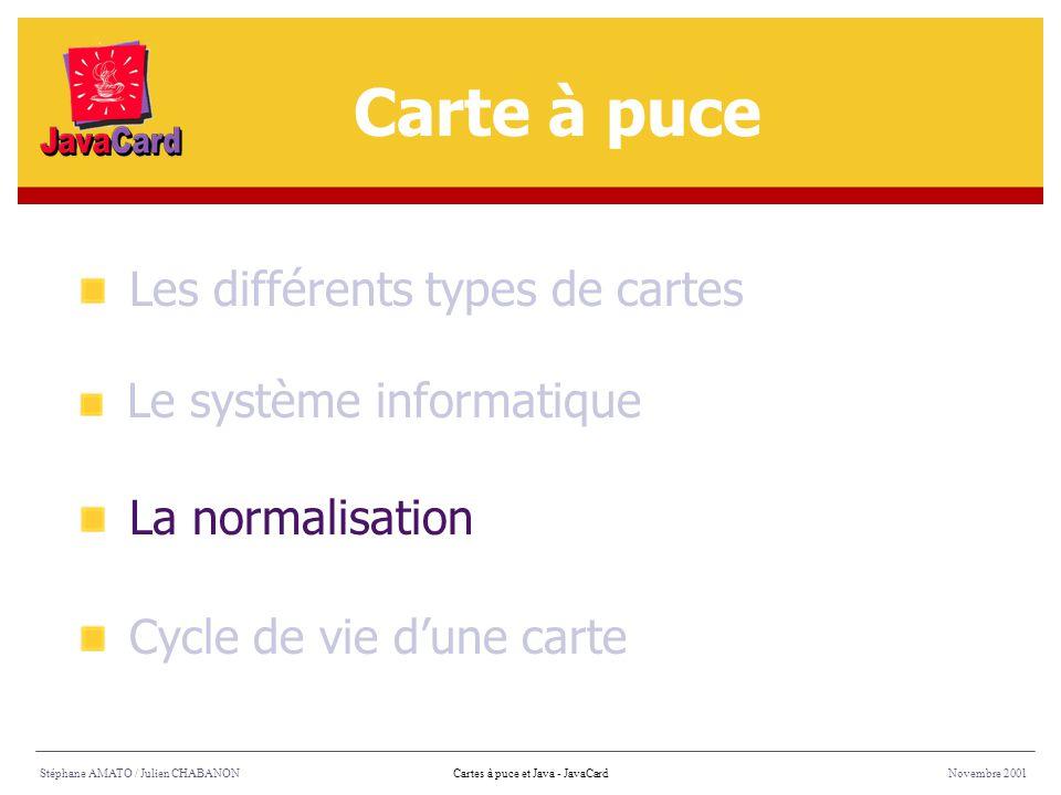 Carte à puce Les différents types de cartes La normalisation