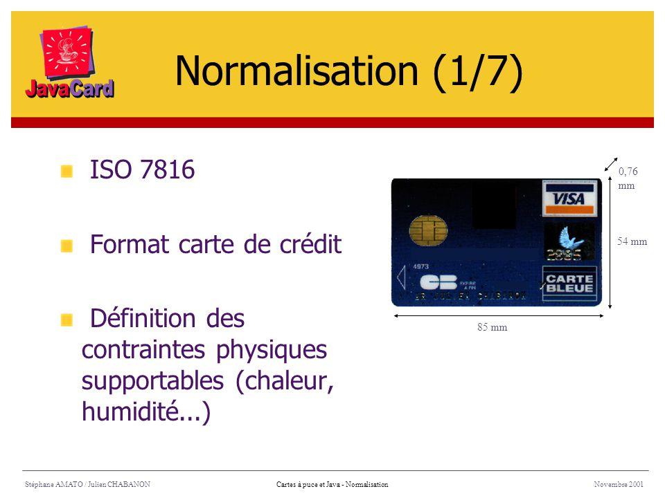 Normalisation (1/7) ISO 7816 Format carte de crédit