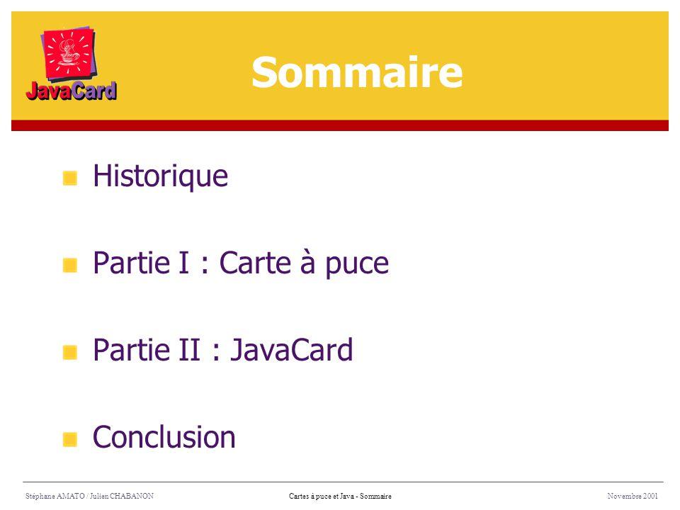 Sommaire Historique Partie I : Carte à puce Partie II : JavaCard