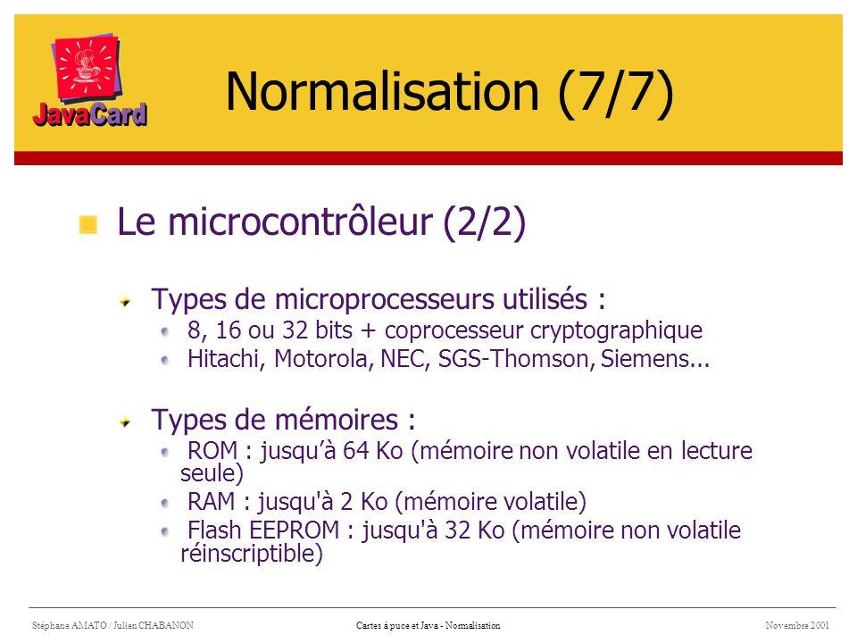 Normalisation (7/7) Le microcontrôleur (2/2)