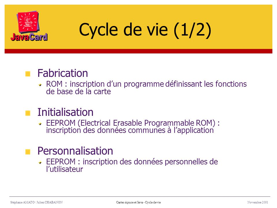 Cycle de vie (1/2) Fabrication Initialisation Personnalisation
