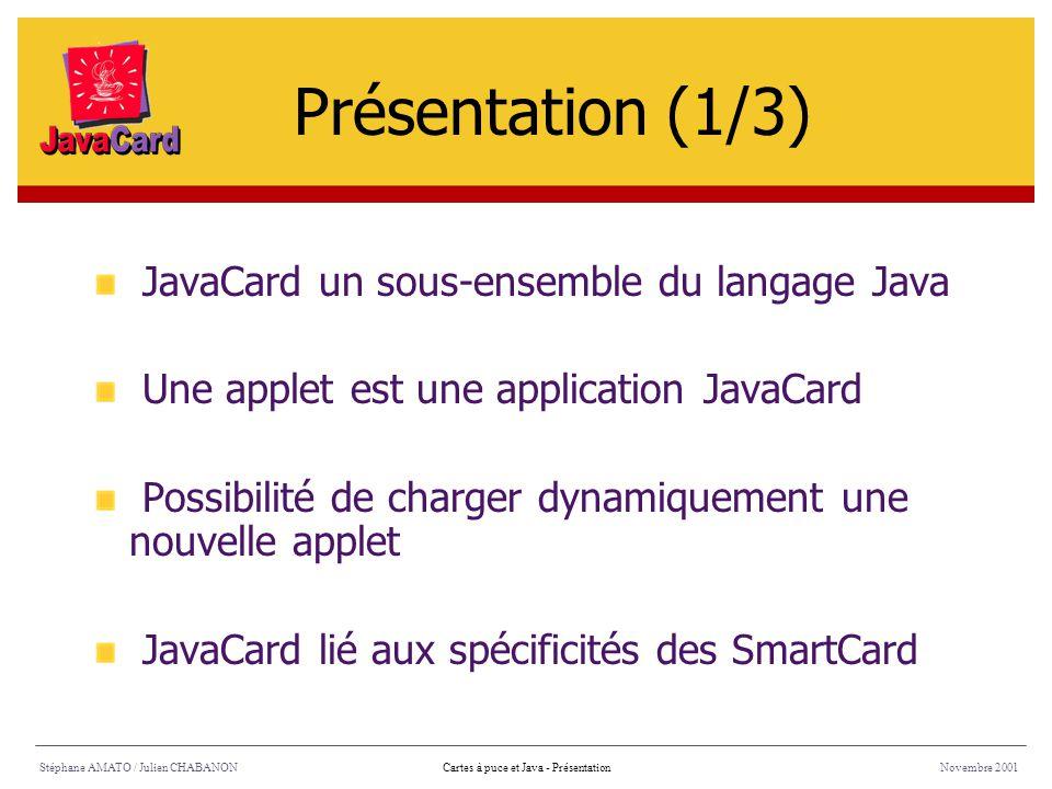 Présentation (1/3) JavaCard un sous-ensemble du langage Java