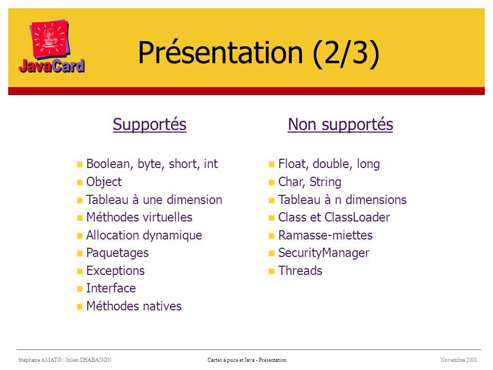 Présentation (2/3) Supportés Non supportés Boolean, byte, short, int