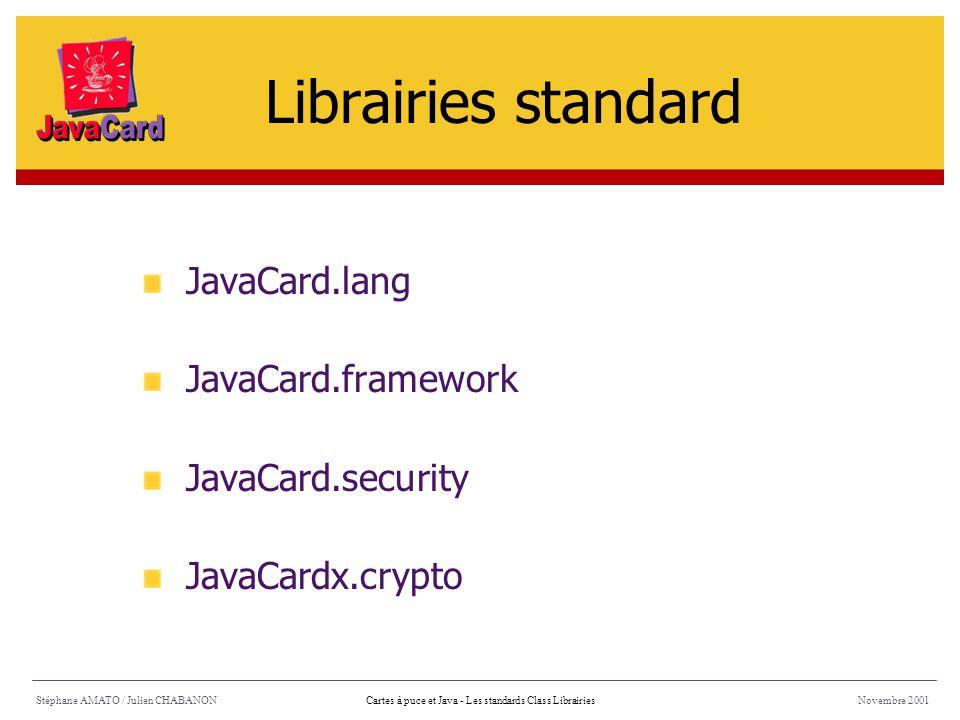 Librairies standard JavaCard.lang JavaCard.framework JavaCard.security