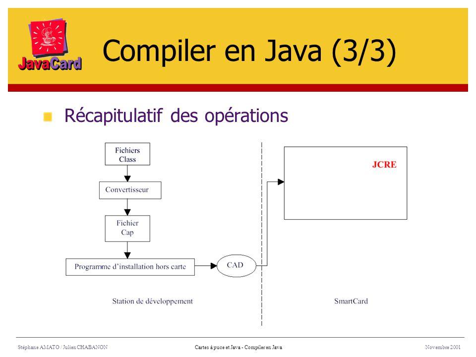 Compiler en Java (3/3) Récapitulatif des opérations