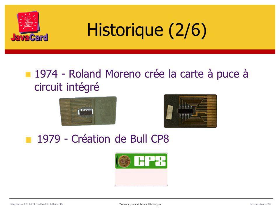 Historique (2/6) 1974 - Roland Moreno crée la carte à puce à circuit intégré. 1979 - Création de Bull CP8.