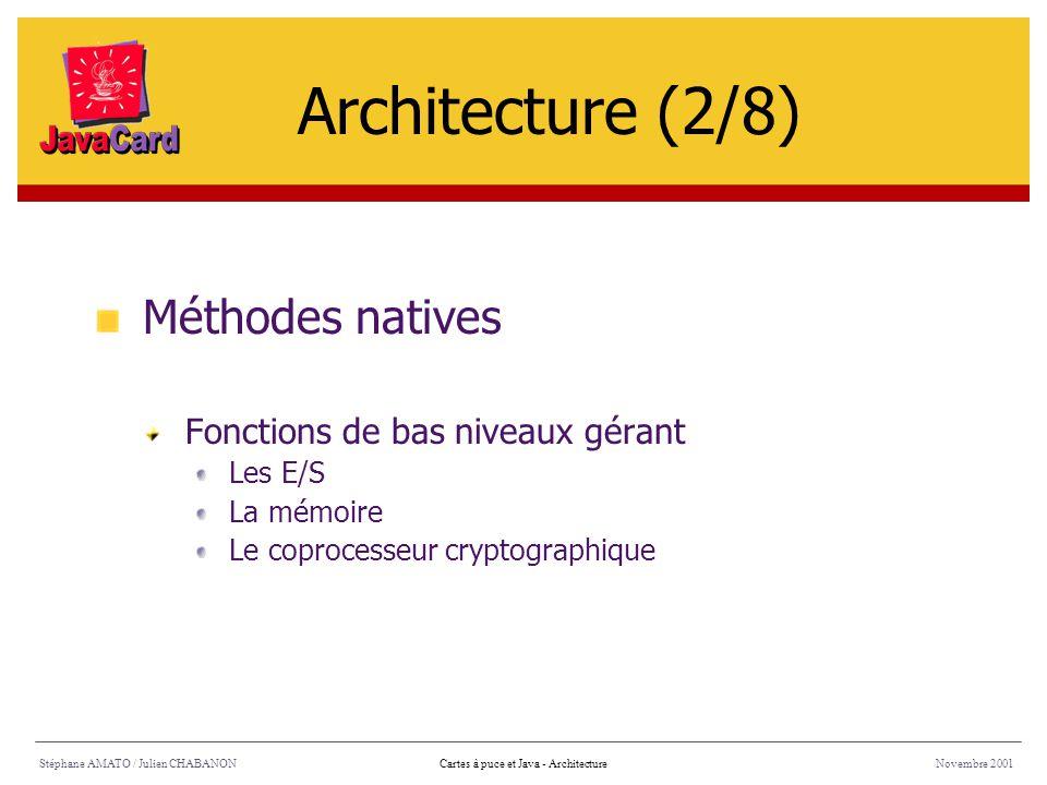 Architecture (2/8) Méthodes natives Fonctions de bas niveaux gérant