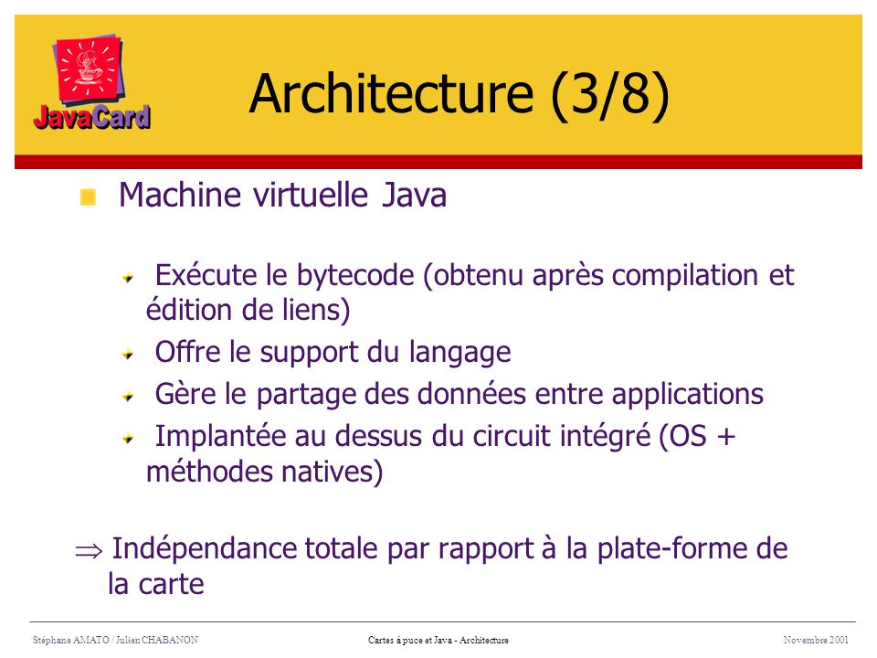 Architecture (3/8) Machine virtuelle Java