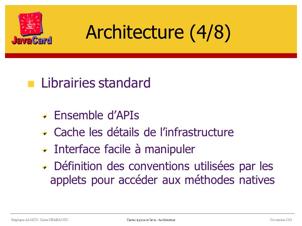 Architecture (4/8) Librairies standard Ensemble d'APIs