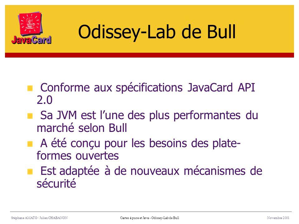 Odissey-Lab de Bull Conforme aux spécifications JavaCard API 2.0