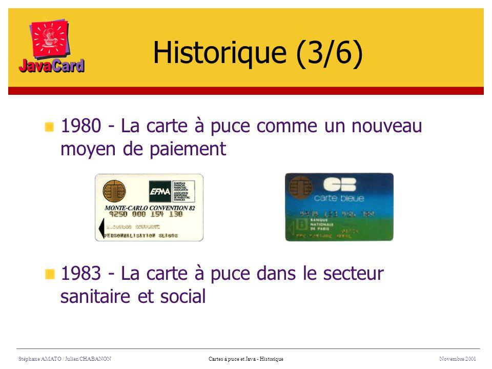 Historique (3/6) 1980 - La carte à puce comme un nouveau moyen de paiement. 1983 - La carte à puce dans le secteur sanitaire et social.