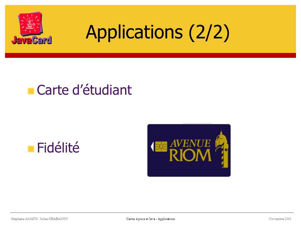 Applications (2/2) Carte d'étudiant Fidélité