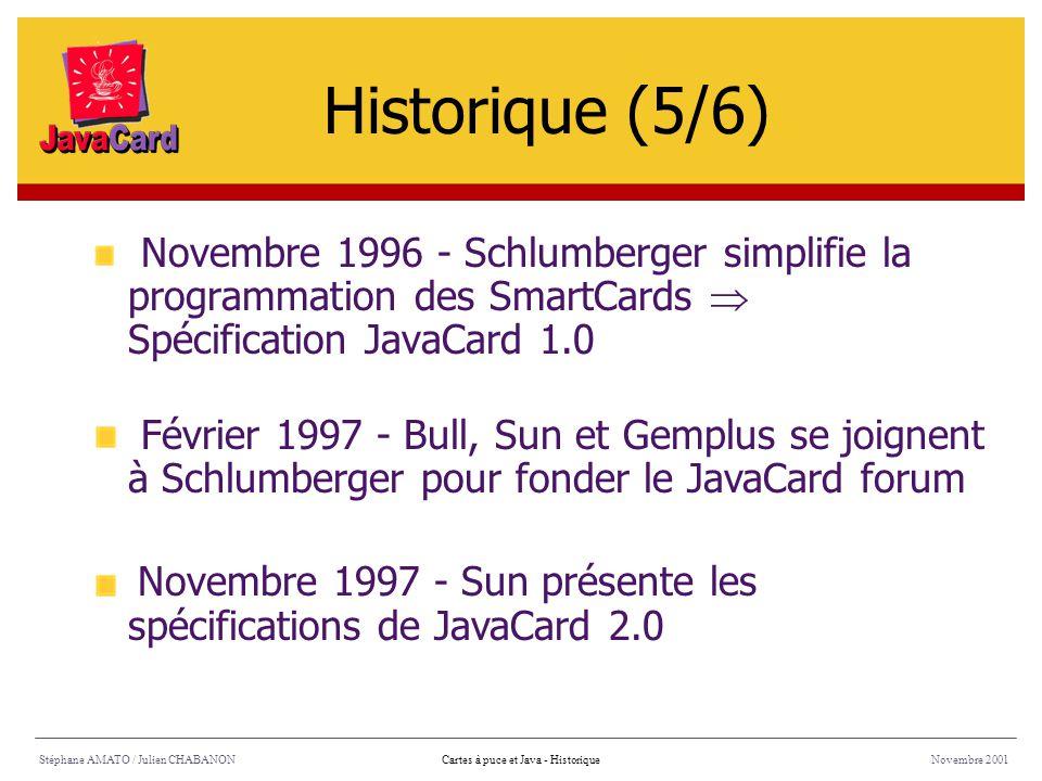 Historique (5/6) Novembre 1996 - Schlumberger simplifie la programmation des SmartCards  Spécification JavaCard 1.0.