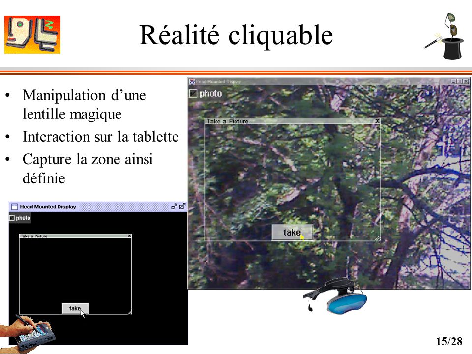 Réalité cliquable Manipulation d'une lentille magique