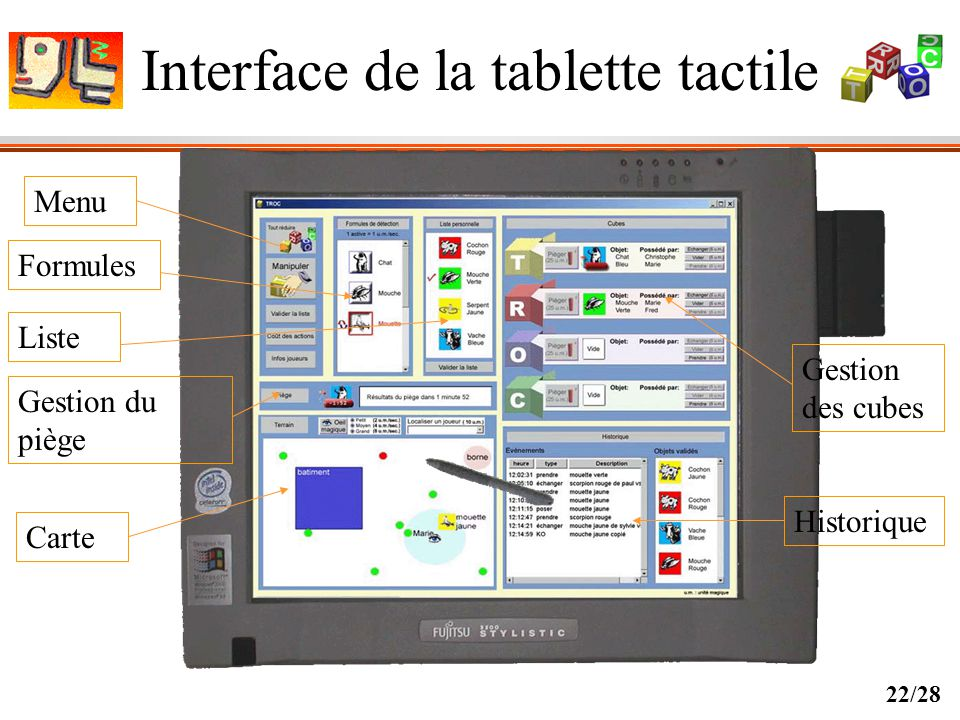 Interface de la tablette tactile