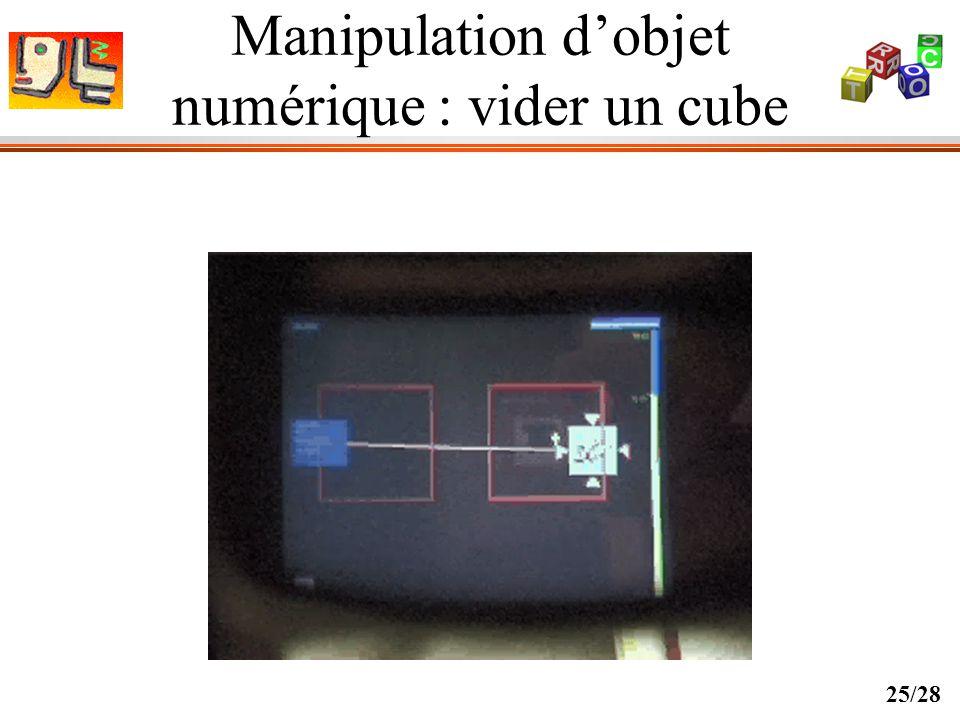 Manipulation d'objet numérique : vider un cube