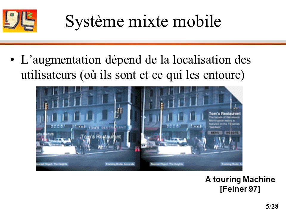 Système mixte mobile L'augmentation dépend de la localisation des utilisateurs (où ils sont et ce qui les entoure)