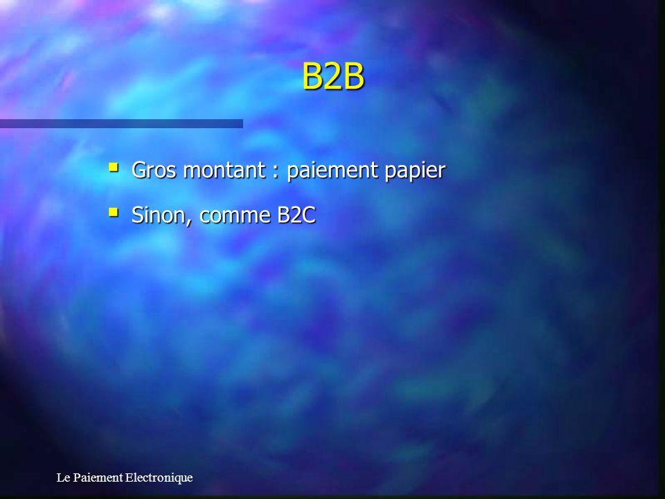 B2B Gros montant : paiement papier Sinon, comme B2C